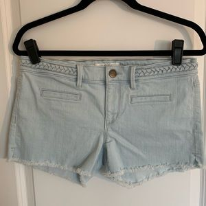 LOFT braided waist denim shorts.